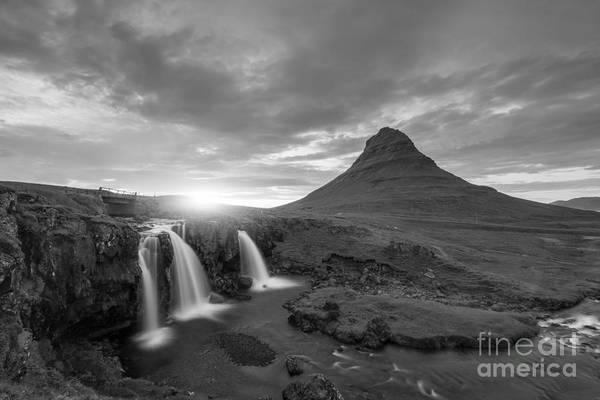 Mv Photograph - Kirkjufellsfoss Sunset Bw by Michael Ver Sprill