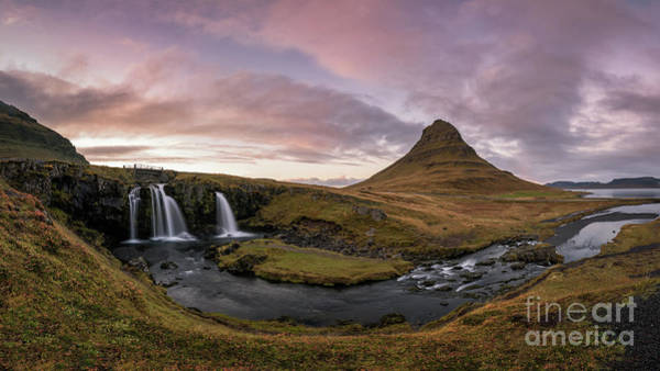 Photograph - Kirkjufellsfoss Sunset Panorama  by Michael Ver Sprill
