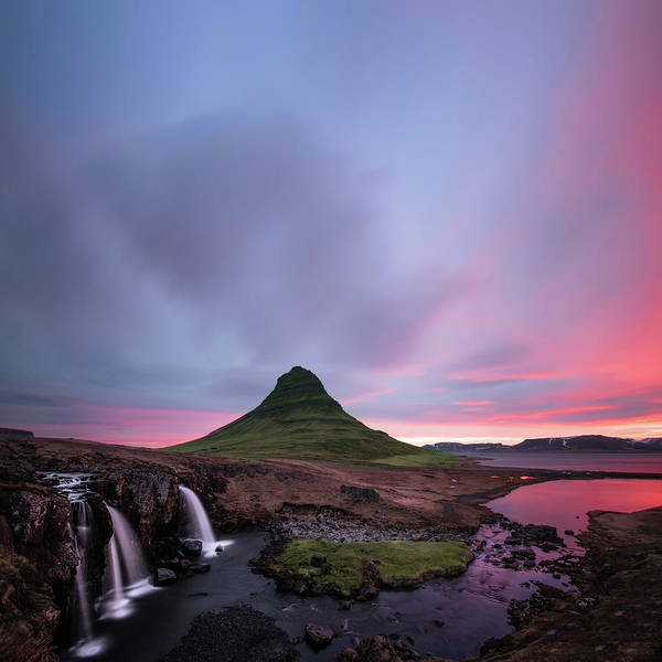 Stream Photograph - Kirkjufellsfoss Waterfalls Iceland Square Version by Larry Marshall