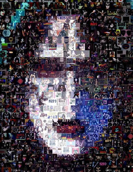 Peter Criss Wall Art - Digital Art - Kiss Ace Frehley Mosaic by Paul Van Scott