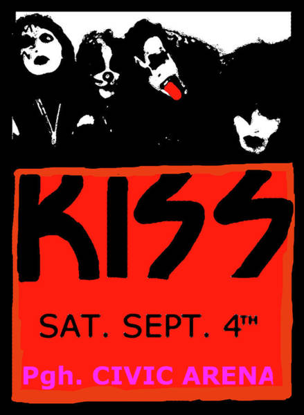 Blue Oyster Cult Wall Art - Mixed Media - Kiss Live 1976  Pittsburgh by Enki Art