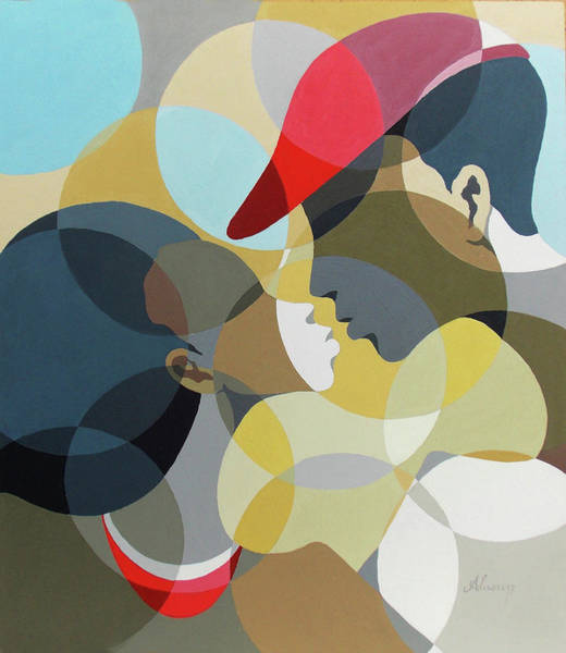 Painting - Kiss Me by Richard Adusu