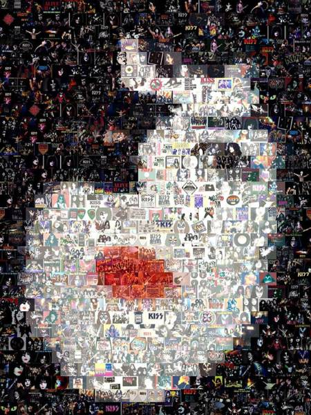 Peter Criss Wall Art - Digital Art - Kiss Paul Stanley Mosaic by Paul Van Scott