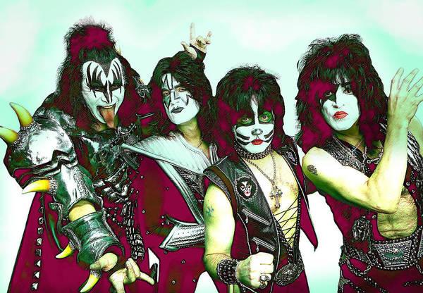 Classic Rock Mixed Media - Kiss Poster  by Enki Art