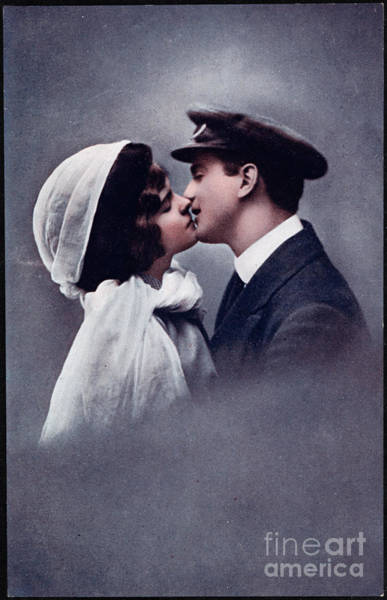 Wall Art - Photograph - Kiss - Vintage Valentine Postcard by Delphimages Photo Creations