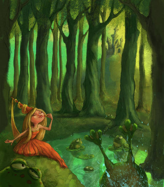Woods Digital Art - Kissing Frogs by Andy Catling