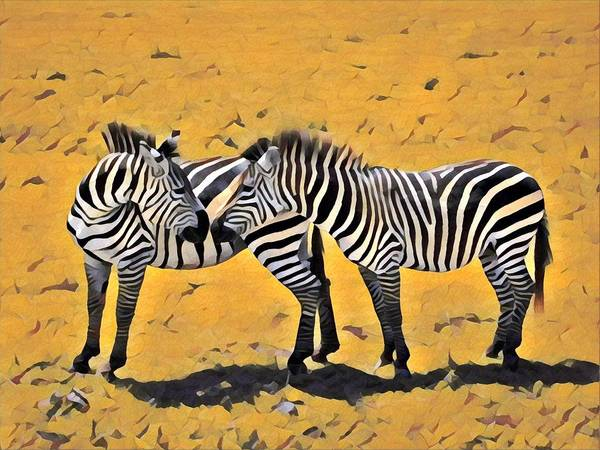 Kenya Mixed Media - Kissing Zebra by Lori Allen