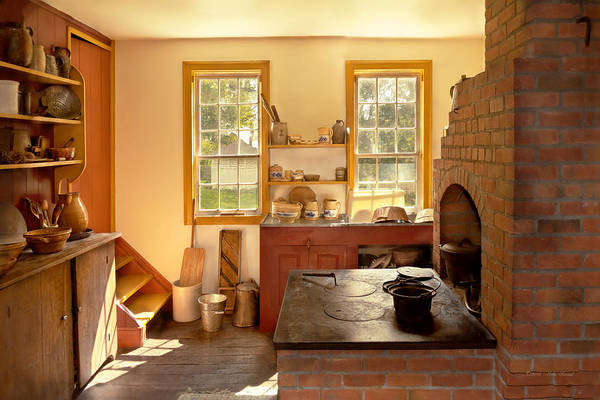 Photograph - Kitchen - An 1840's Kitchen by Mike Savad