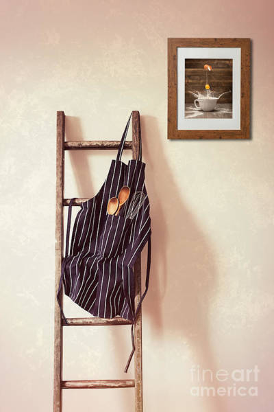 Apron Wall Art - Photograph - Kitchen Apron Hanging On Ladder by Amanda Elwell