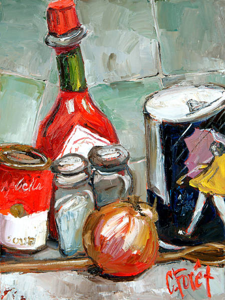 Red Onion Painting - Kitchen Counter by Carole Foret