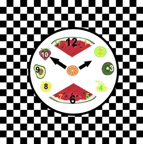 Avocado Mixed Media - Kitchen Food Clock by Kathleen Sartoris