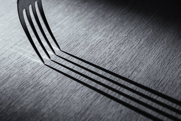 Photograph - Kitchen Fork Shadow Abstract In Monochrome by John Williams