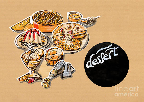 Drawing - Kitchen Illustration Of Menu Of Desserts  by Ariadna De Raadt