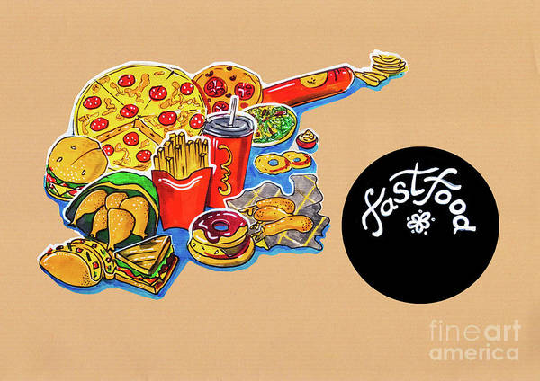 Drawing - Kitchen Illustration Of Menu Of Fast Food  by Ariadna De Raadt