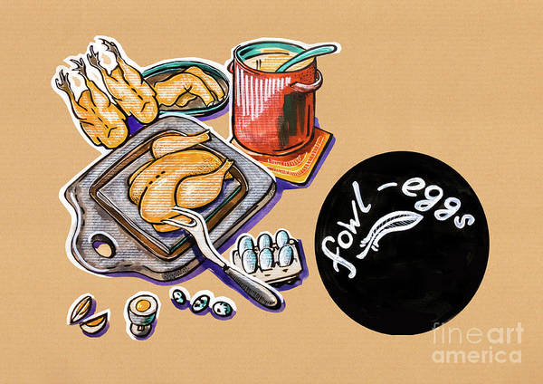 Drawing - Kitchen Illustration Of Menu Of Fowl  Products  by Ariadna De Raadt