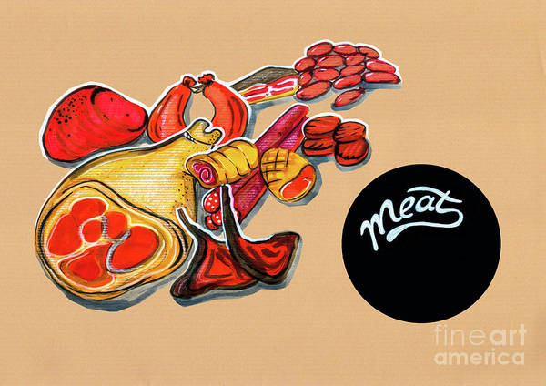Kitchen Illustration Of Menu Of Meat Products  Art Print