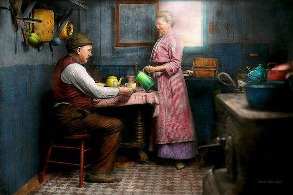 Tenement Photograph - Kitchen - Morning Coffee 1915 by Mike Savad