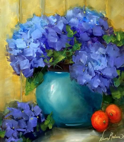 Kitchen Nook Blue Hydrangeas Art Print
