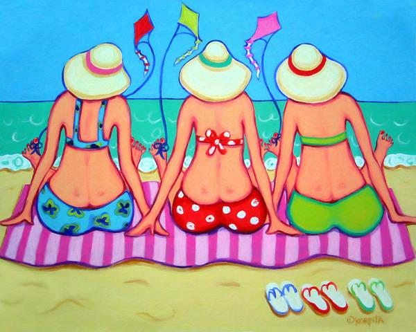 Kite Wall Art - Painting - Kite Flying 101 - Girlfriends On Beach by Rebecca Korpita