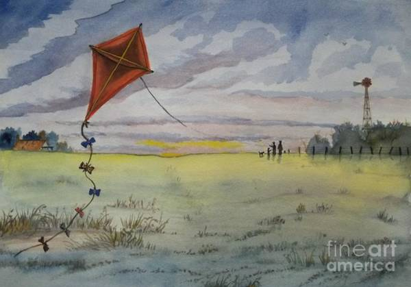 Wall Art - Painting - Kite Flying by Don Hand