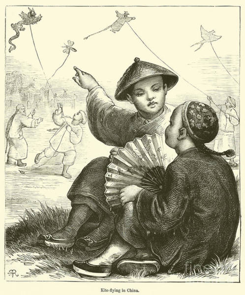 Pleasure Drawing - Kite Flying In China  by English School