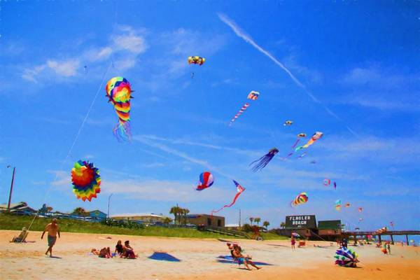 Flagler Beach Photograph - Kites In The Bluest Sky by Alice Gipson
