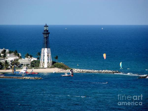 Photograph - Kitesurfing At Pompano Beach By Hillsboro Lighthouse In Florida by Corinne Carroll