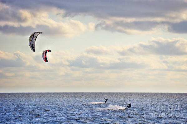 Photograph - Kitesurfing by Angela Doelling AD DESIGN Photo and PhotoArt