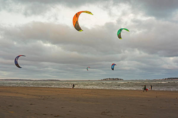 Kitesurfing On Revere Beach Art Print