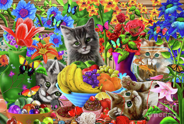 Wall Art - Digital Art - Kitten Fun by MGL Meiklejohn Graphics Licensing