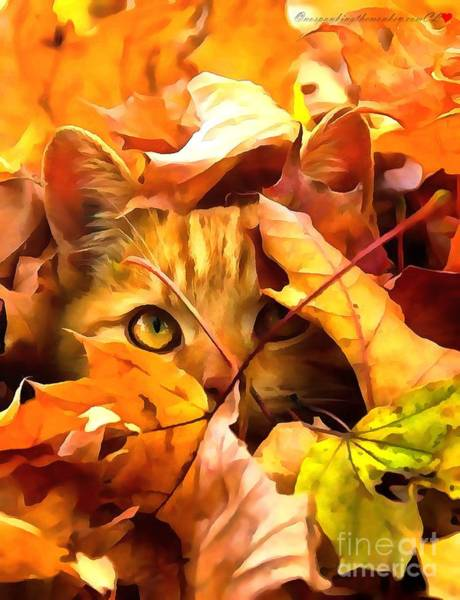 Painting - Kitten In The Autumn Leaves by Catherine Lott