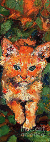 Painting - Kitten Orange Tabby Impressionist Oil Painting by Ginette Callaway