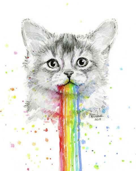 Wall Art - Painting - Kitten Puking Rainbows by Olga Shvartsur