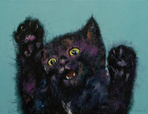 Crazy Cat Painting - Ninja Kitten by Michael Creese