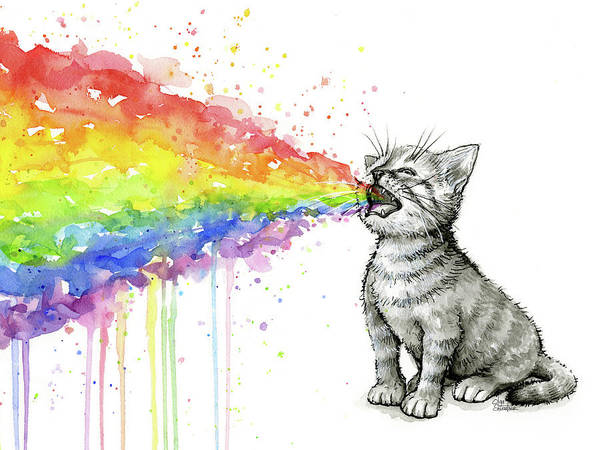 Kitten Wall Art - Painting - Kitten Tastes The Rainbow by Olga Shvartsur