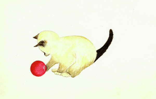 Wall Art - Painting - Kitten With Red Ball by Michael Vigliotti