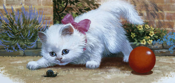Kitten Play Wall Art - Painting - Kitten With Snail And Ball by English School
