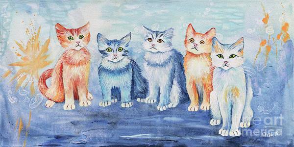 Wall Art - Painting - Kittens Alarm by Jutta Maria Pusl