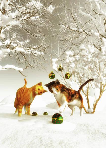 Painting - Kittens At Christmas by Jan Keteleer