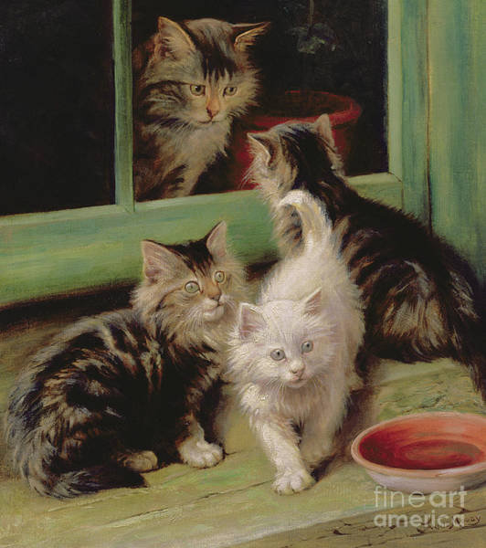 Terracotta Painting - Kittens  by Fannie Moody