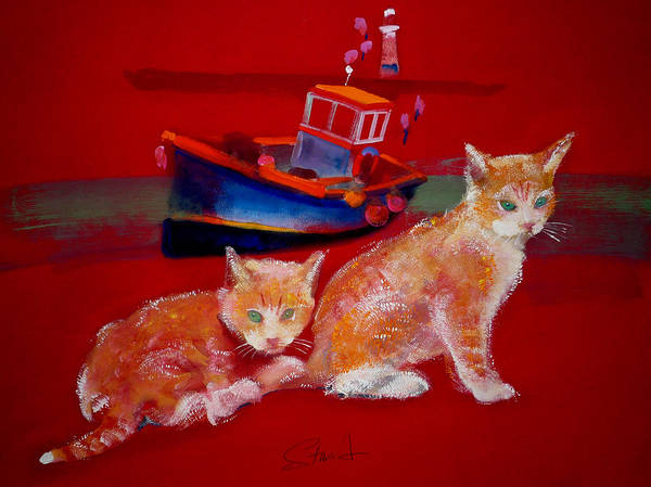 Painting - Kittens On The Beach by Charles Stuart