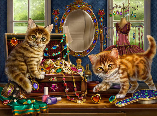 Painting - Kittens With Jewelry Box by Anne Wertheim