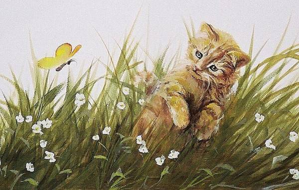 Painting - Kitty And Butterfly by Suzn Smith