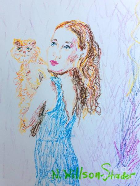 Orange Tabby Drawing - Kitty Blue by N Willson-Strader