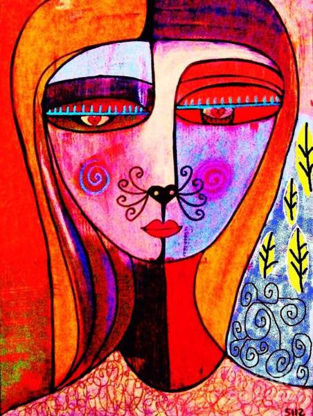 Painting - 0 Kitty Cat Goddess by Sandra Silberzweig