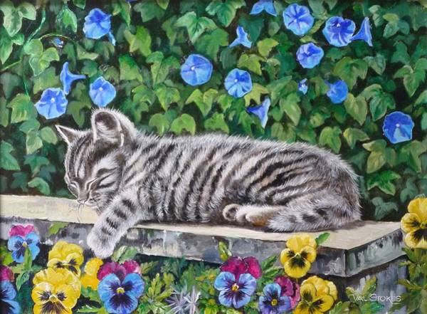 Painting - Kitty Cat-nap by Val Stokes