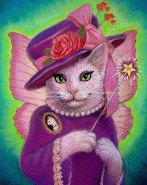 Wall Art - Painting - Kitty Fairy Godmother by Sue Halstenberg