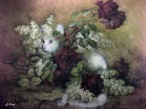 White Cat Mixed Media - Kitty Floral 002 by G Berry