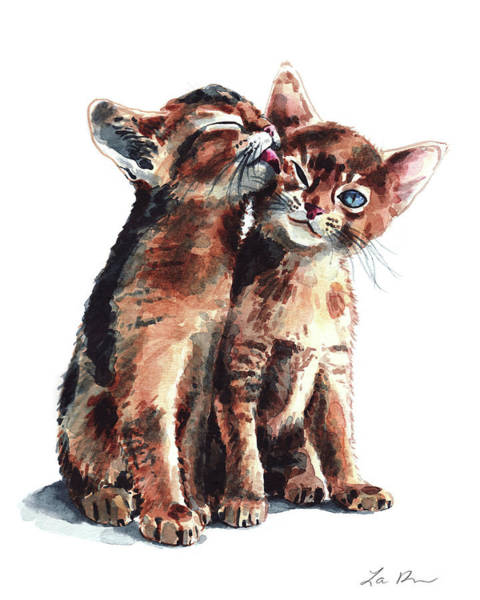 Wall Art - Painting - Kitty Kisses Abyssinian Kittens Brother Sister by Laura Row