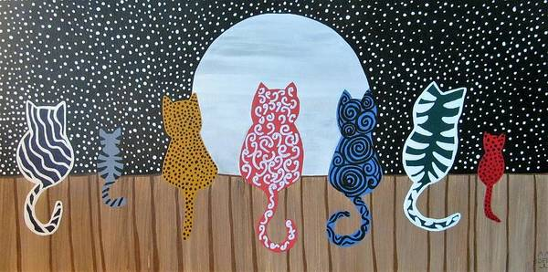 Cats And Dogs Painting - Kitty Moon Rise by Deborah Martin